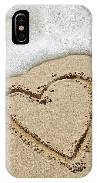 Heart-shape Drawn In Sand Phone Case by Tony Craddock