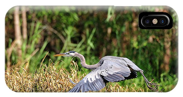 Heron Flying Along The River Bank IPhone Case