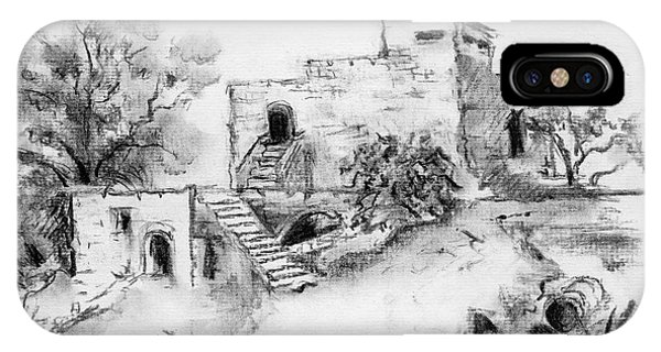 Hirbe Landscape In Afek Black And White Old Building Ruins Trees Bricks And Stairs IPhone Case