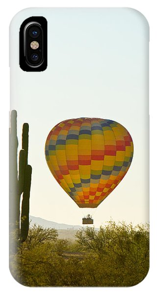 Hot Air Balloon In The Arizona Desert With Giant Saguaro Cactus IPhone Case
