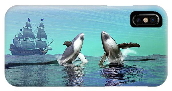 Schooner iPhone Case - Humpback Whales Breach The Ocean by Corey Ford