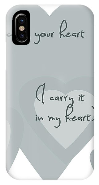 I Carry Your Heart I Carry It In My Heart - Grey IPhone Case