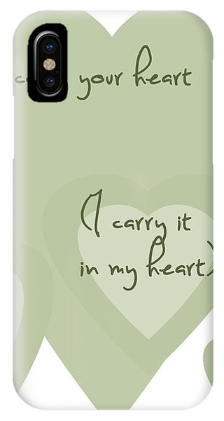 I Carry Your Heart I Carry It In My Heart - Pale Greens IPhone Case