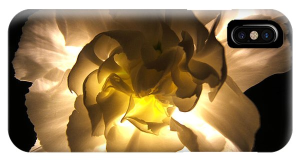 Illuminated White Carnation Photograph IPhone Case