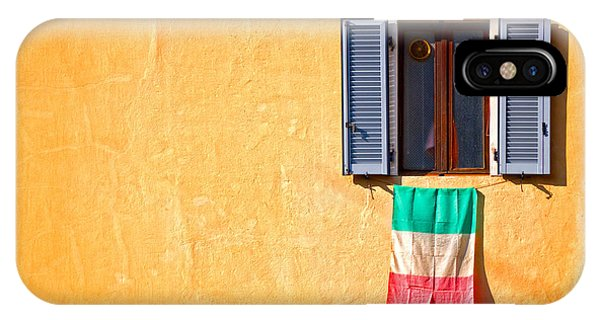 Italian Flag Window And Yellow Wall IPhone Case