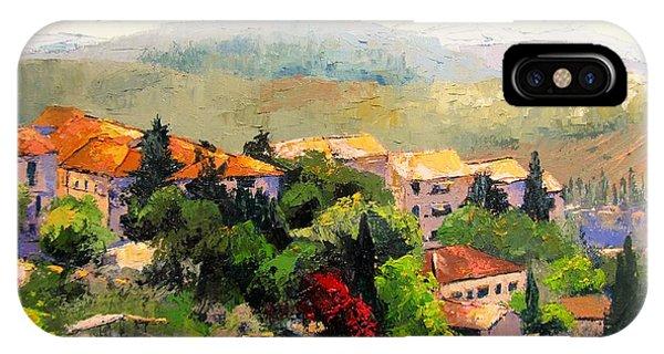 Italian Hillside Village Oil Painting IPhone Case