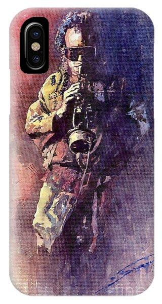 Portret iPhone Case - Jazz Miles Davis Maditation by Yuriy Shevchuk