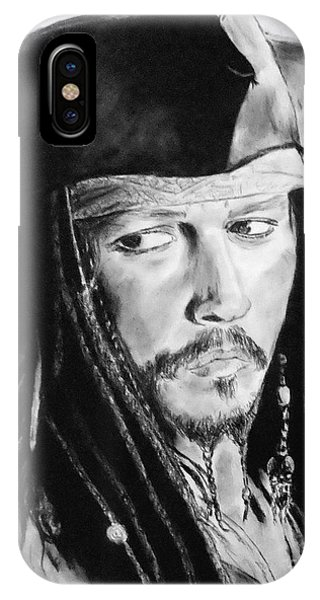 Orlando Bloom iPhone Case - Johnny Depp As Captain Jack Sparrow In Pirates Of The Caribbean II by Jim Fitzpatrick