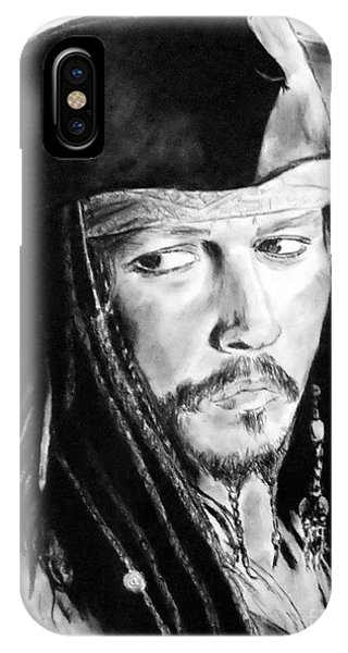Orlando Bloom iPhone Case - Johnny Depp As Captain Jack Sparrow In Pirates Of The Caribbean by Jim Fitzpatrick
