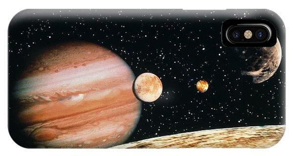 Jupiter And The Galilean Moons Seen From Callisto IPhone Case