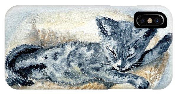 Watercolor Pet Portraits iPhone Case - Kitten by Irina Sztukowski