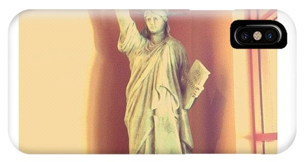 Quirky iPhone Case - Lady Liberty With A Burger Torch!! Lol! by Judi Lacanlale