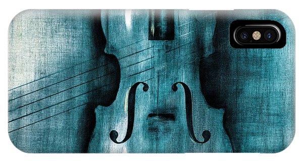 Violin iPhone X Case - Le Violon Bleu by Hakon Soreide