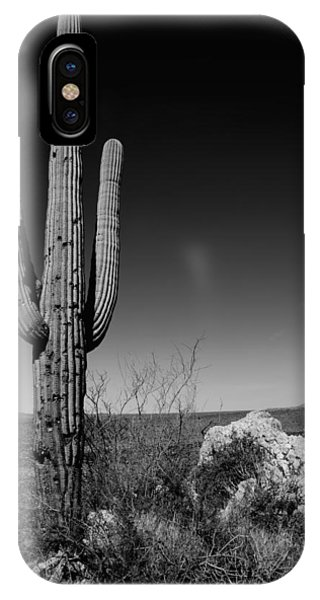 Monochrome iPhone Case - Lone Saguaro by Chad Dutson