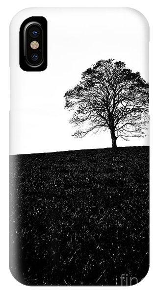 0 iPhone Case - Lone Tree Black And White Silhouette by John Farnan