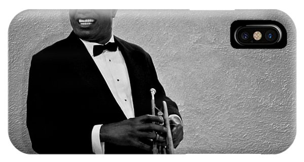 Trumpet iPhone X Case - Louis Armstrong Bw by David Dehner