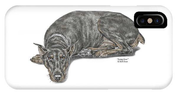 Lying Low - Doberman Pinscher Dog Print Color Tinted IPhone Case