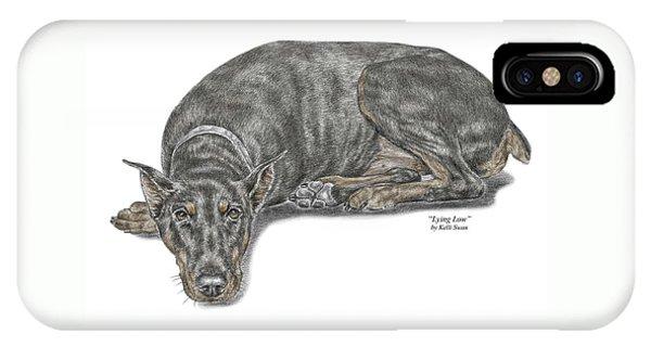 Lying Low - Doberman Pinscher Dog Print Color Tinted IPhone Case