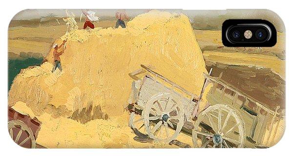 Cart iPhone Case - Making Hay Stacks by Ylli Haruni