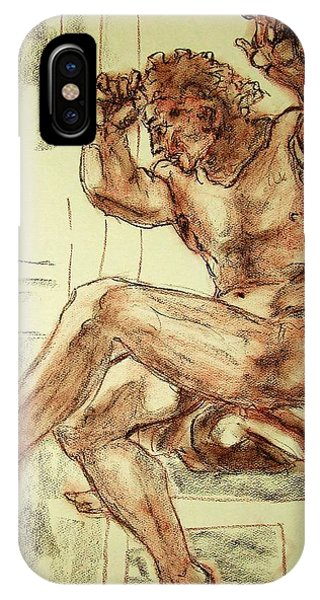 Male Nude Figure Drawing Sketch With Power Dynamics Struggle Angst Fear And Trepidation In Charcoal IPhone Case