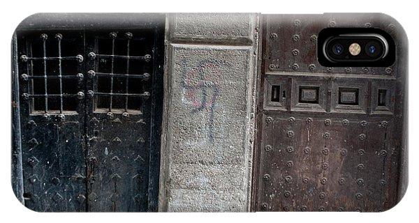 IPhone Case featuring the photograph Medieval Doors Evil Graffiti by Lorraine Devon Wilke