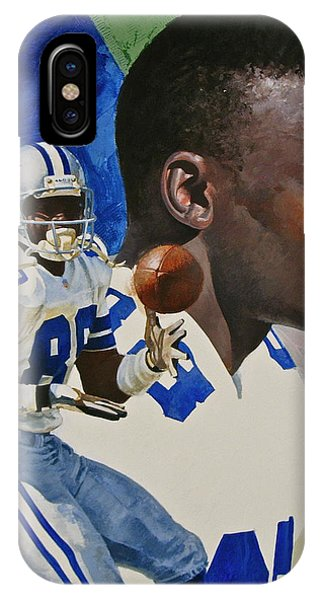 IPhone Case featuring the painting Michael Irvin by Cliff Spohn