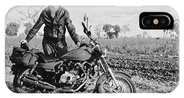 Wheeler Farm iPhone Case - Middle Aged European With Indian Motor Cycle B by Kantilal Patel