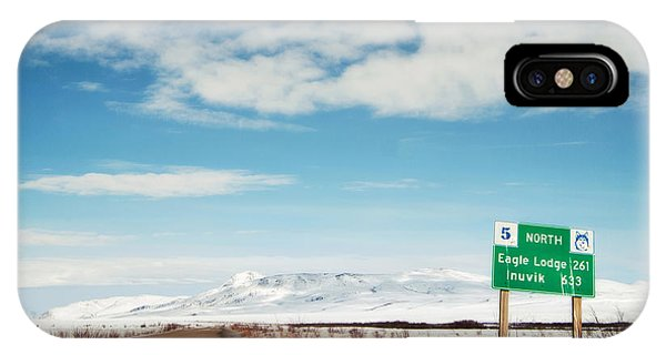 Street Sign iPhone Case - Milepost At The Dempster Highway by Priska Wettstein