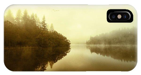 Loch Ard iPhone Case - Mist Across The Water Loch Ard by John Farnan