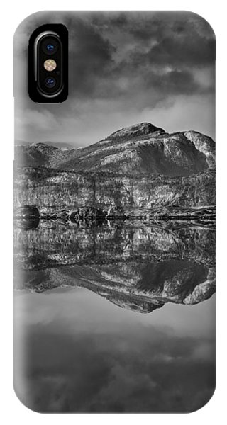 Monochrome Mountain Reflection IPhone Case