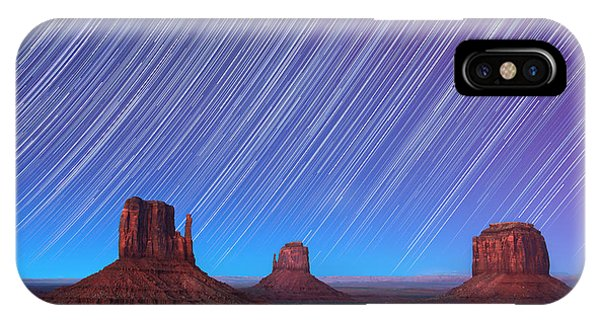 Astro iPhone Case - Monument Valley Star Trails  by Jane Rix
