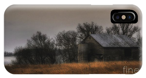 Morning Fog At Jorgens Barn IPhone Case