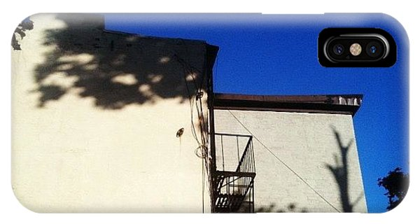 City Scape iPhone Case - Morning Shadows On Yellow Wall by Fern Fiddlehead