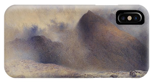 Shrouds iPhone Case - Mount Snowdon Through Clearing Clouds by Alfred William Hunt