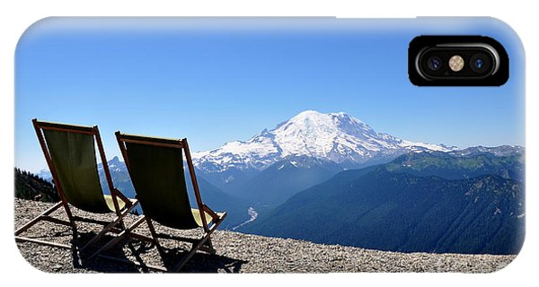 Mt. Rainier Chairs And Chipmunk IPhone Case