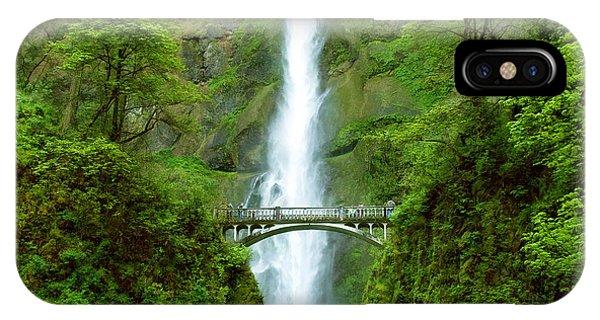 Multnomah Falls Bridge With Sightseers Close To Falls IPhone Case
