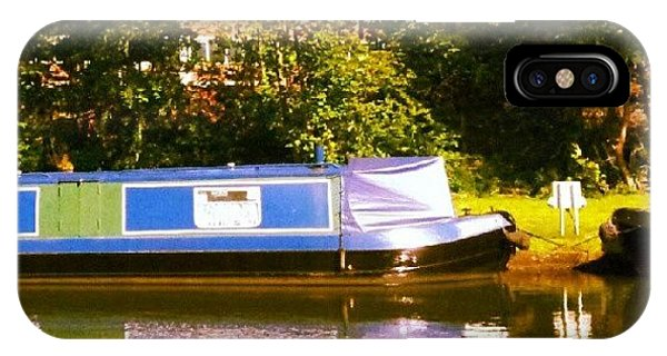 Holiday iPhone Case - Narrowboat In Blue by Abbie Shores