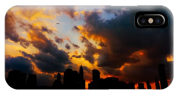 City Sunset iPhone Case - New York City Skyline At Sunset Under Clouds by Vivienne Gucwa