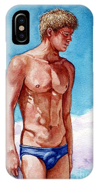 Nude Male Blonde In Blue Speedo IPhone Case