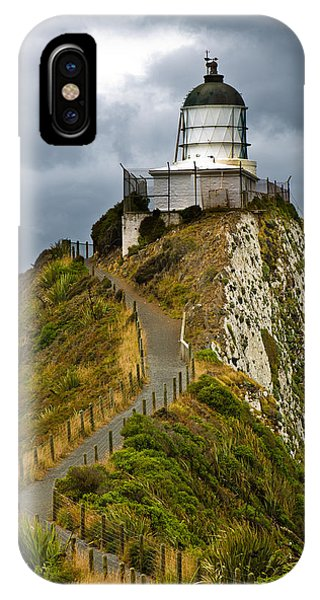 Nugget Point Light House And Dark Clouds In The Sky IPhone Case