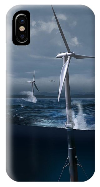 Offshore Wind Farm In A Storm, Artwork Phone Case by Claus Lunau