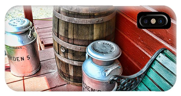 Old Milk Cans And Rain Barrel. IPhone Case