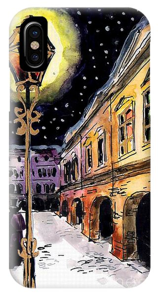 Street Light iPhone Case - Old Time Evening by Mona Edulesco