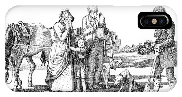 Pen And Ink Drawings For Sale iPhone Case - Old West Art Burial by Gordon Punt