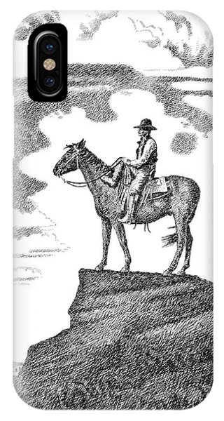 Pen And Ink Drawings For Sale iPhone Case - Old-west-art-cowboy by Gordon Punt