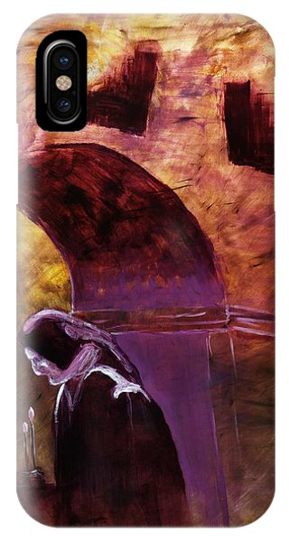 Old Woman Lighting Candles In Cathedral In Purple And Yellow  IPhone Case