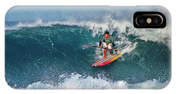 Paddleboarder Rides The Break IPhone Case