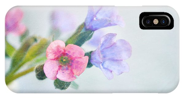 Pale Pink And Purple Pulmonaria Flowers IPhone Case