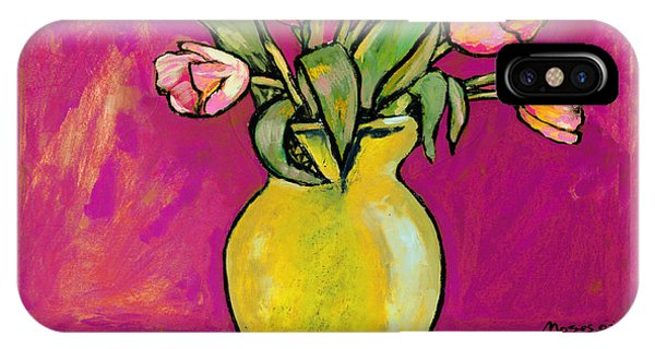 Parrot Tulips In A Yellow Vase IPhone Case