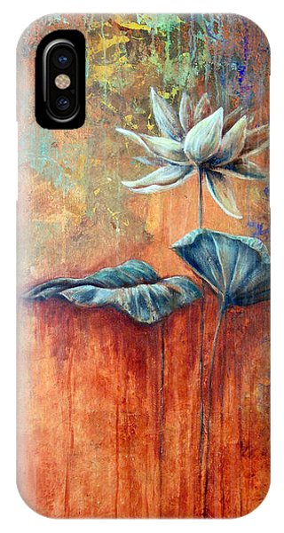 IPhone Case featuring the painting Patina Lotus by Ashley Kujan